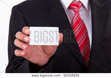 Businessman Shows Blank Business Card
