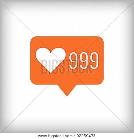 Like Orange Icon. 999 Likes.