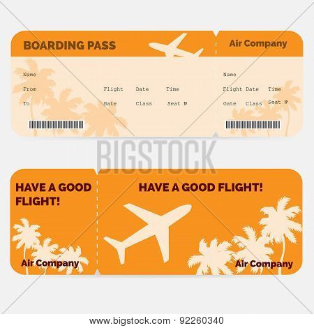 Airline boarding pass. Orange ticket isolated on white background