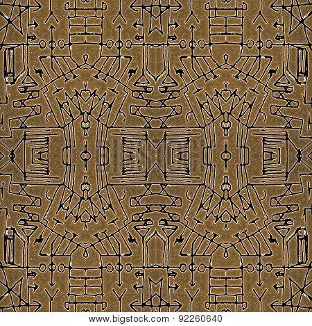 Tribal Geometric Symbols Seamless Pattern