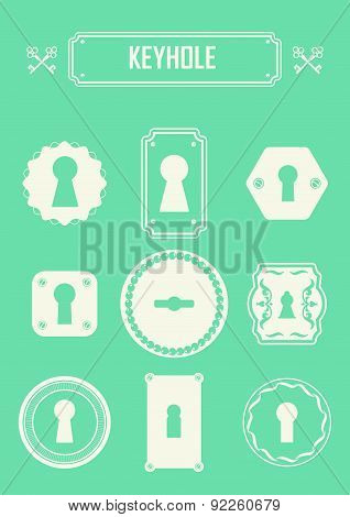 Vector Illustration Of Vintage Keyholes.
