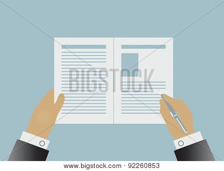Hands signing business contract. Vector illustration in flat style