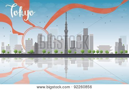 Tokyo skyline with skyscrapers, sun and reflection. Vector illustration