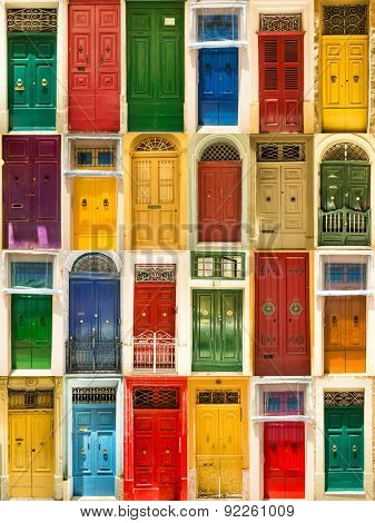 photo collage of colourful front doors to houses