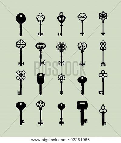 Vector Illustration Of Keys. Symbol Set.