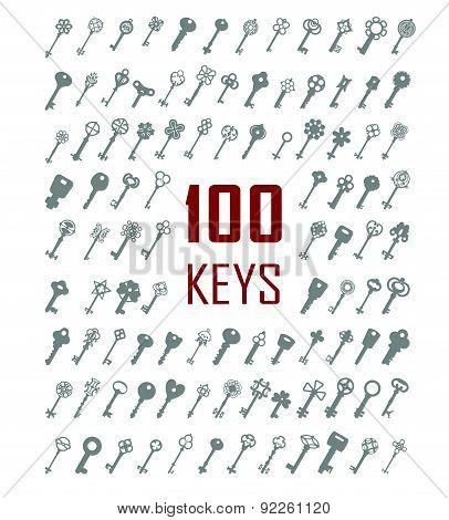 Vector Illustration Of Keys. Big Icon Set