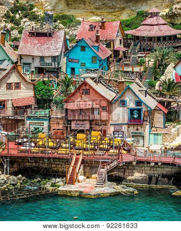 Mellieha, Malta - 23 May 2015:  Popeye Village. Popeye Village was used as the set for Robert Altman's movie Popeye and is now in use as an amusement park.