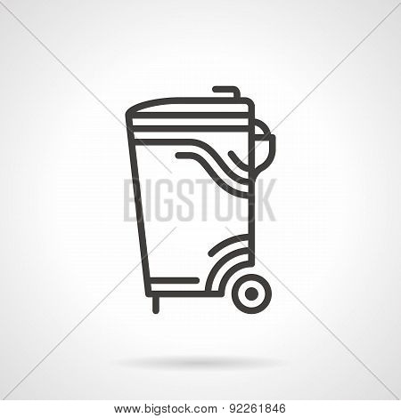 Garbage bin black line vector icon