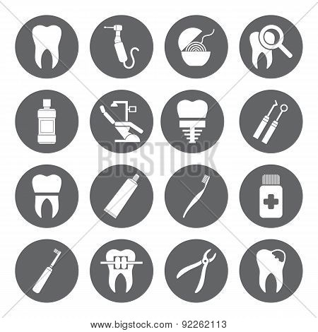 Set Of Vector Dental Icons In Flat Style.