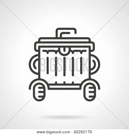 Wheeled garbage can black line vector icon