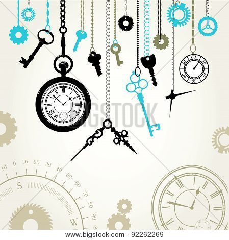 Vector Illustration Of The Dial, Compass, Keys And Parts Of Hours.