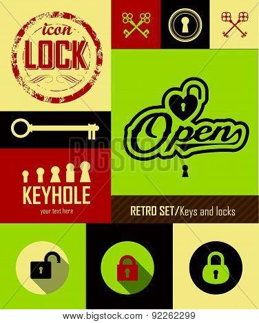 Vector Illustration Of Retro Keys. Logo Open & Close.
