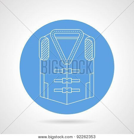 Life jacket blue vector icon