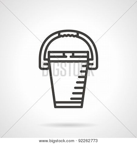 Bucket black line vector icon