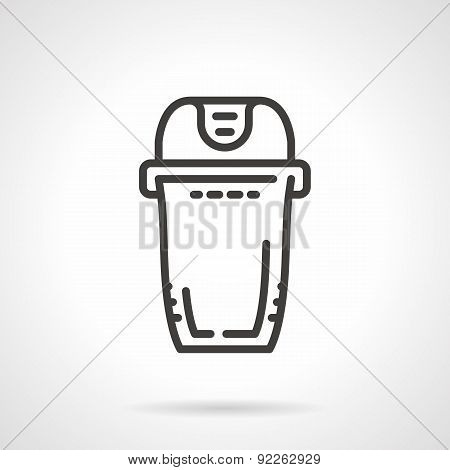 Trash can black line vector icon
