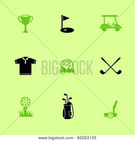 Vector Illustration With Black & Green Pictograph.