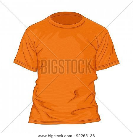 Orange t-shirt with texture. Design template. Vector illustration