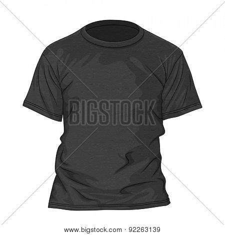 Black t-shirt with texture. Design template. Vector illustration