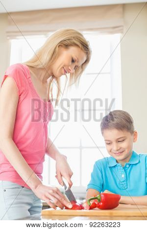 Boy looking at mother slicing red bell pepper in kitchen