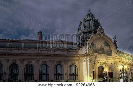 Municipal house Prague during night time
