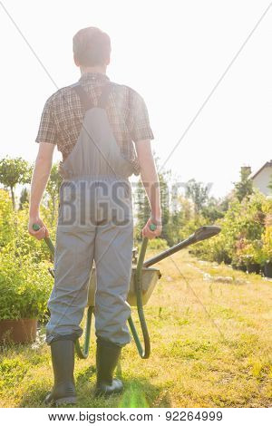 Full-length rear view of gardener pushing wheelbarrow at garden