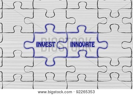 Invest & Innovate, Glowing Jigsaw Puzzle Illustration