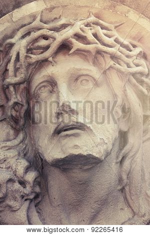Close Up Dramatic Statue Of Crucified Jesus Christ (styled Vintage)