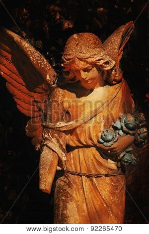 Sculpture Of An Angel With Dark Background (styled Vintage)