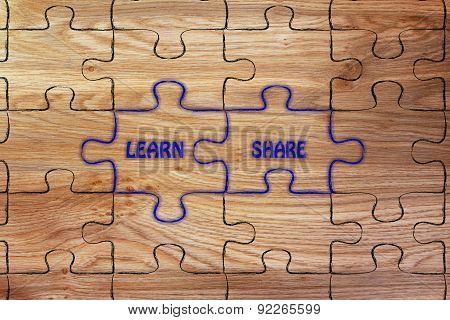 Learn & Share, Glowing Jigsaw Puzzle Illustration