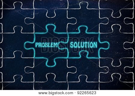 Problem & Solution, Glowing Jigsaw Puzzle Illustration