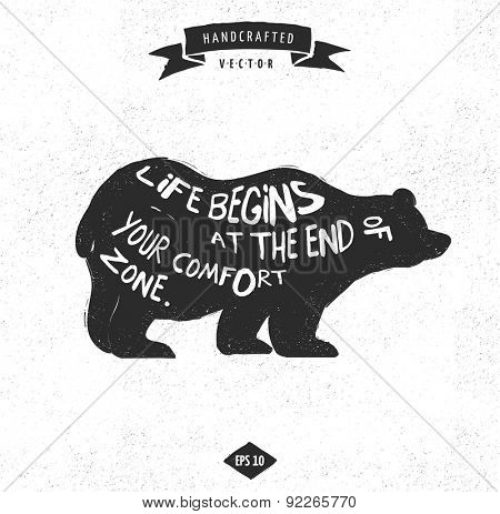 inspiration quote hipster vintage design label - Bear