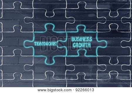 Teamwork & Business Growth, Glowing Jigsaw Puzzle Illustration