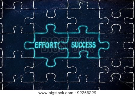 Effort & Success, Glowing Jigsaw Puzzle Illustration