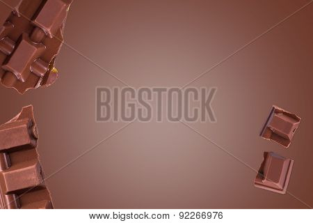 Chocolate Bar Pieces With Copy Space