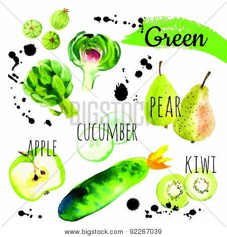Vector Illustration With Only Green Fruits & Vegetables.