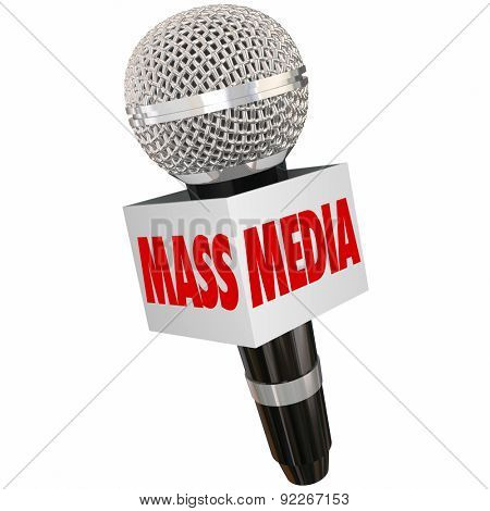 Mass Media words on a microphone box to illustrate interviews and reporting on tv, radio, internet, podcasting and other multimedia formats