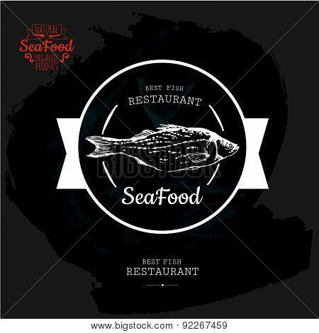 Vector Illustration On Blackboard. Seafood.