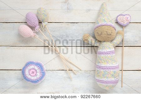 Crochet toy doll with some handmade decoration