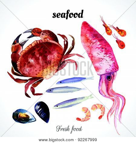 Vector Illustration With Watercolor Food.