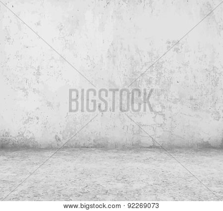 old empty room with concrete wall, vector