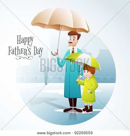Illustration of a father and son wearing rain coat, and holding umbrella in a rainy day on city view background, concept for Happy Father's Day celebration.