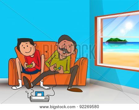 Father and son enjoying and playing video game together on occasion of Happy Father's Day celebration.