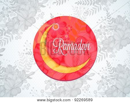 Beautiful flowers decorated creative sticky design with golden crescent moon for holy month of Muslim community, Ramadan Kareem celebration.