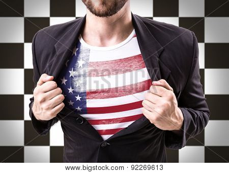 Businessman stretching suit with USA flag on checkered background