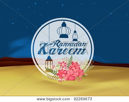 Beautiful pink flowers and hanging Arabic lanterns decorated sticky design on shiny night view background for holy month of Muslim community, Ramadan Kareem celebration.