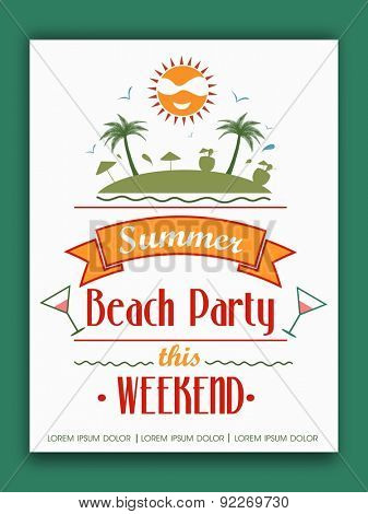 Invitation card design for weekend Summer Beach Party.