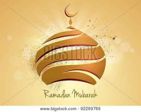 Beautiful golden upper part of a mosque on shiny rays background for Islamic holy month of prayers, Ramadan Kareem celebration.