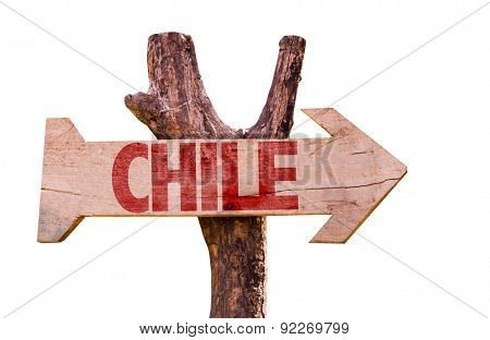 Chile wooden sign isolated on white background