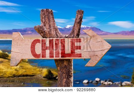 Chile wooden sign with Laguna Colorada background