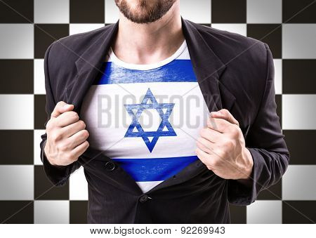 Businessman stretching suit with Israel on checkered background